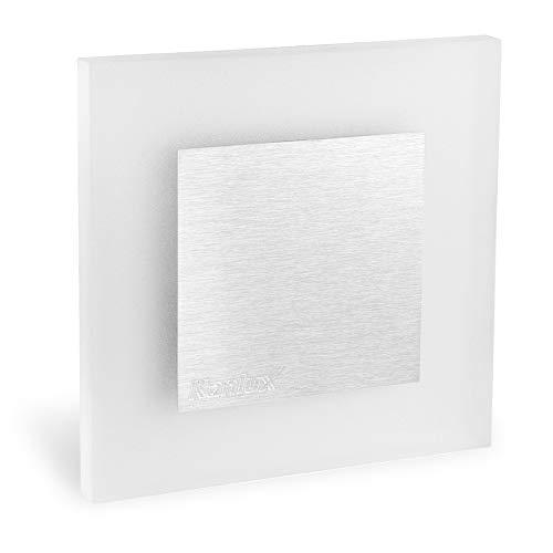 5 Stück LED Wand Einbau-Leuchte ideal für Treppen-beleuchtung – Moderne Form aus Edelstahl & Glas für 60mm Dosen warmweiß - 6