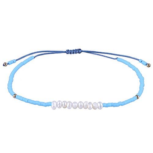 KELITCH Schale Perle Freundschaft Armband Handmade Geflochten Samen Wulstig Strang Armband (Licht Blau K) -
