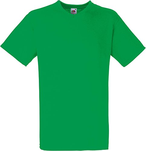 Fruit of the Loom - V-Neck T-Shirt 'Value Weight' Medium,Kelly Green