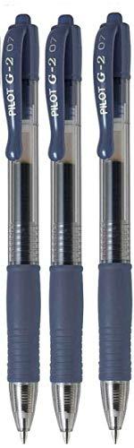 Pilot G2 07, fein, Schwarz, Blau, mit Gel Ink Pen Tintenroller, 0,7 mm Spitze, 0,39 mm Strichbreite, nachfüllbar BL-G2-7 (3 Stück)