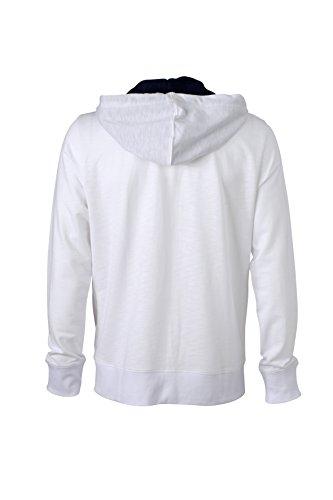 James & Nicholson Herren Urban Sweat Sweatshirt Weiß (White/Navy)
