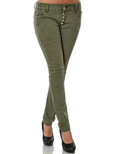 Damen Jeans Hose Skinny Knopfleiste (Röhre) No 15832, Farbe:Khaki, Größe:S / 36 (Damen Hose, Khaki)