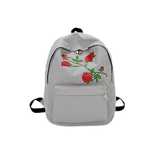 sunnymi  Rucksack, Frauen Mädchen Stickerei Rose Schultasche Reiserucksack Tasche Umhängetasche (Grau) - Kitty Shopper Tasche