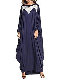 a51cb6713ce3 KRUIHAN Donne Vestito Allentato Casuale Musulmana - Kaftan Figura Intera  Abaya Dubai Vintage Ricamo Abbigliamento