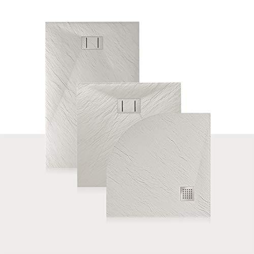 Idralite Bac à Douche 80x120x2,6 CM Rectangulaire Blanc Effet Pierre Mod. Blend
