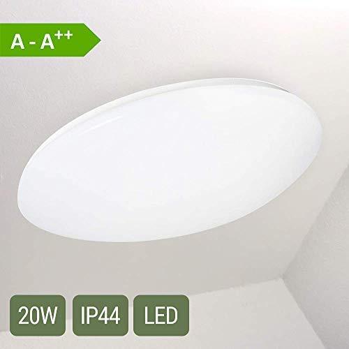 LED Deckenleuchte Warmweiss Rund 20 Watt · IP44 Spritzwassergeschützt · Deckenlampe Badezimmerleuchte Balkonleuchte Decke ø 39cm Oktaplex Lighting