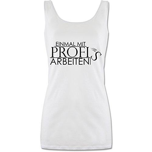 Statement Shirts - Einmal mit Profis - M - Weiß - P72 - lang-geschnittenes Tanktop für Damen -