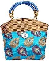 Women's Mini fancy and Attractive Brocade peacock themed Sky Blue Handbag 10*10...