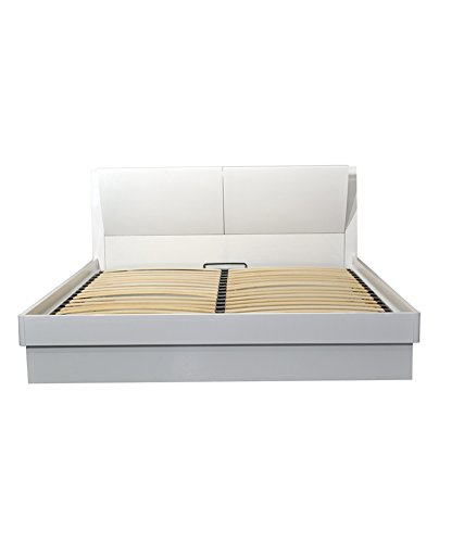 HomeTown Aspen Queen Bed with Super Storage (Glossy Finish, White)