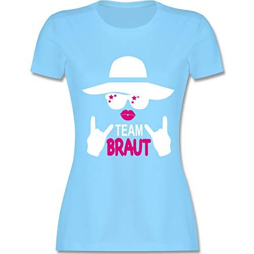 bschied - Rocker Team Braut - weiß - XL - Hellblau - L191 - Damen Tshirt und Frauen T-Shirt ()