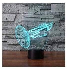 3D Trompete Musikinstrumente Optische Illusions-Lampen Tolle 7 Farbwechsel Acryl berühren Tabelle Schreibtisch-Nachtlicht mit USB-Kabel für Kinder Schlafzimmer Geburtstagsgeschenke Geschenk