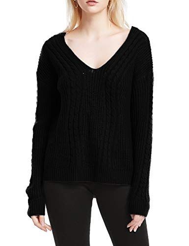 Damen Pullover Strick Winter Oversize V-Neck Langarm Loose Mode Freizeit Warmer Sweater Sweatshirt Oberteile Tops (Small, Schwarz)
