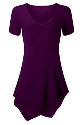 Kostüme 50er Jungs Jahre (YMING Damen Lose Blusen Tunika Shirt Casual V-Ausschnitt Asymmetrisch Top)