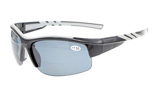 Eyekepper TR90 Unzerbrechliche Sportarten Polykarbonat Polarisierte Bifokale Halbrandlose Sonnenbrillen Baseball Laufen Angeln Angeln Golf Softball Wandern Schwarzes Frame Graues Linse +1.5