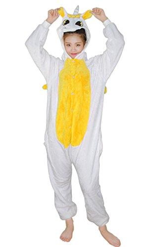 Schlafanzug Jumpsuit Erwachsene - Feelme Tier Pyjama Cartoon Fasching Animal Sleepsuit Einhorn Onesies Karneval Cosplay Kostüm Unisex Kigurumi