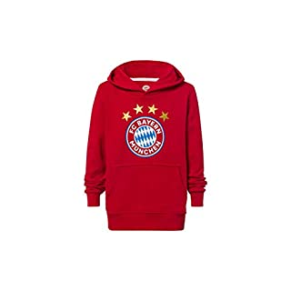 FC Bayern München Hoodie Logo rot Kinder, Kapuzenpullover mit Brusttasche, 128
