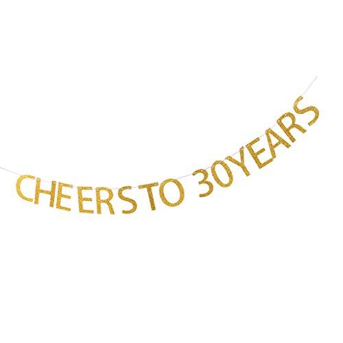 amagogo Wimpelkette Wimpelgirlande Girlande Geburtstag Hochzeit Baby Party Dekoration - Cheers to 30 Years, 13.5 x 9.5 cm