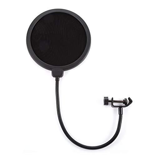Professional Mpf-6 6-Inch Clamp On Microphone Pop Filter Bilayer Recording Spray Guard Double Mesh Screen Windscreen Studio,Black