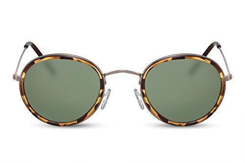 Cheapass Sonnenbrille Rund Schwarz Brau Grüne Linsen UV-400 Designer-Brille Leopard-Print Hipster Nerd Metall Damen Herren -