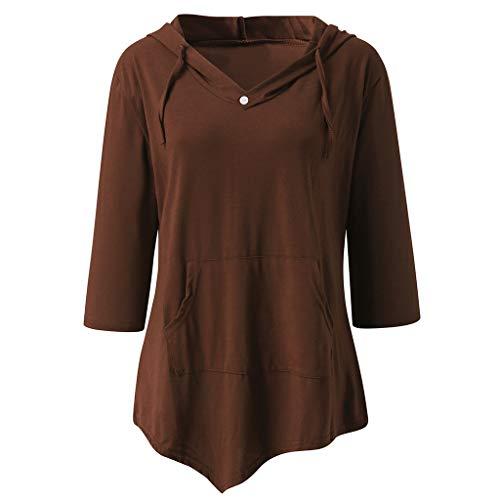 Muyise Plus Size Damen Tops Pullover V-Ausschnitt Beiläufige Lose Langarm Bluse Oberteile Einfarbig Knopfnaht Nähte Tasche Kordelzug Hoodie T-Shirt Sweatshirts(Kaffee,M)