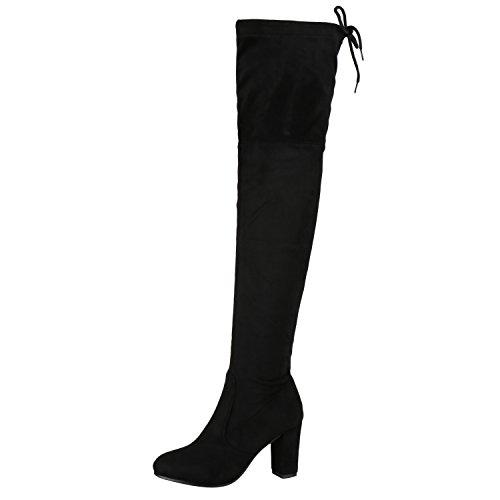 napoli-fashion Damen Stiefel Overknees 70s Langschaft Boots Damen Stiefel Schwarz 39 Jennika