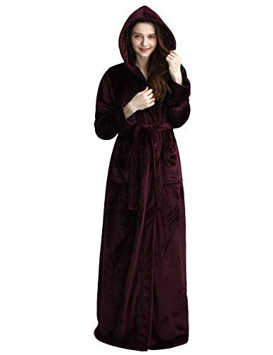 iCREAT Langer mit Kapuze Damen-Bademantel Fleece-Ganzkörper-Bademantel mit Kapuze Winter Sleepwear, Rot, XL