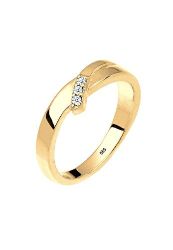 Diamore Damen Stapelring 585 Gelbgold 925 Sterling Silber Diamant weiß 0,06 ct Brillantschliff Gr.52 (16,6) 0606471215_52