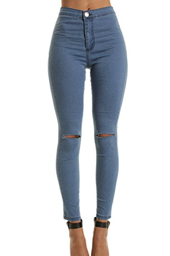 Damen Hohe Taille Dehnbar Skinny Jeans Hose Riss Löcher blau S -