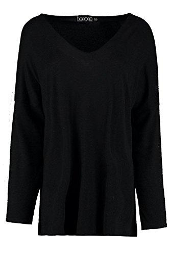 Noir Femmes Esme V Neck Knitted Top Noir