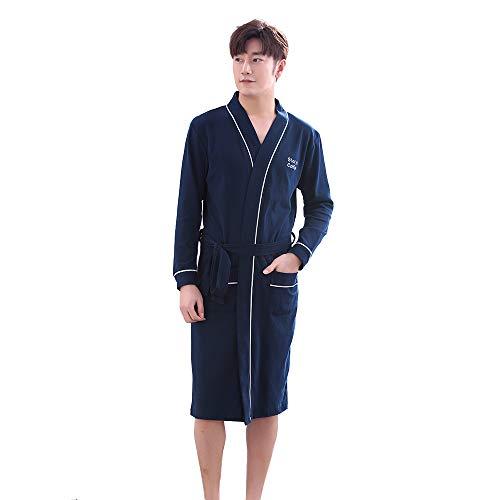 Unisex 100% Baumwolle Kimono Wrap Robe Morgenmantel Housecoat mit Taschen und Gürtel für Männer und Frauen (Men L, Navy blau) -