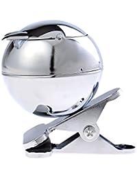 Cendrier fait en alliage de zinc, en forme de chat et pince pour l'attacher à la table, métal poli, Mod. 778A (DE)