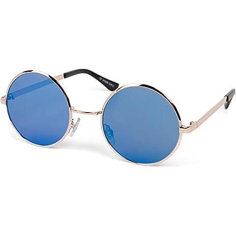 styleBREAKER gafas de sol con lentes de espejo redondas y planas, y montura de metal-acero fino, unisex 09020064