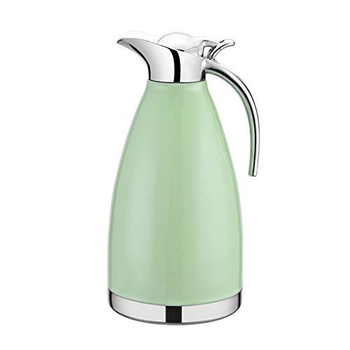 GUOCU 304 Edelstahl Doppelwand Vakuum Isolierte Kaffee Topf Kaffee Thermos Kaffee Plunger Saft/Milch/Tee Isolierung Topf,Grün,1.5 L(24 Hours Insulation)
