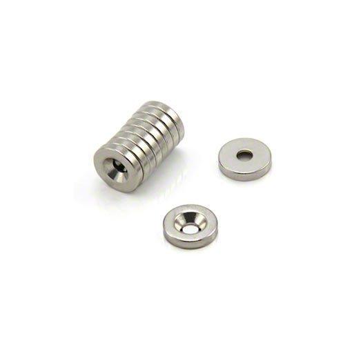 First4magnets F102N-10 10mm Durchmesser x 2mm Dicke X 3mm c/Waschbecken Neodym-Magneten - 1,2 kg ziehen (Norden) (Packung mit 10), silver, 25 x 10 x 3 cm, Stück