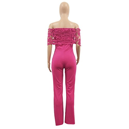 1pc femmes combinaison , Transer ® Femmes sexy Bodycon Strappy Hors épaule cocktail Clubwear dentelle combinaison Rose vif