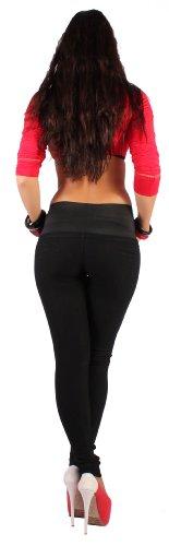 Leggings Treggings Röhre Skinny Jeggings High Waist Hochschnitt mit Taillengürtel in schwarz XS/34 - XL/42 Schwarz