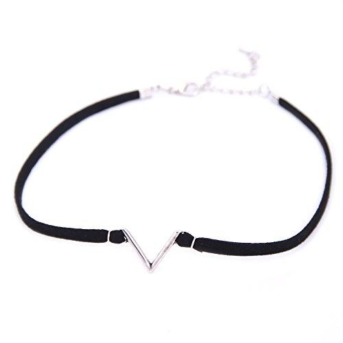 Lureme Punk gotisch Schmuck Basic Schwarz Samt V Symbol Tattoo Choker Halskette für Frauen Mädchen Teenageralter Silber Farbe (Halloween Veranstaltungen 2017)