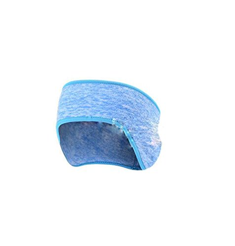 Winter Sports Fleece Ear Muff Headband Unisex Women Men Outdoor Riding Running Ski Elastic Headwear Ear Warmer Hair Band (blue)