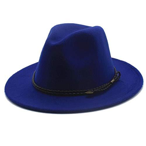 DOGOGO, Cappello Speciale in Feltro da Uomo Fedora da Donna Vintage Trilby Cappello in Lana Caldo con Cintura, Blu Reale