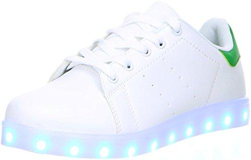#DT New York Mädchen Damen LED Licht Farbwechsel Sneaker weiß, Größe:38;Farbe:Grün#