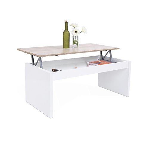 Fores Habitdesign Tabelle elevable, Nachttisch Schrank Wohnzimmer Esszimmer, Maße: 102 x 50 x 43/52 cm Höhe