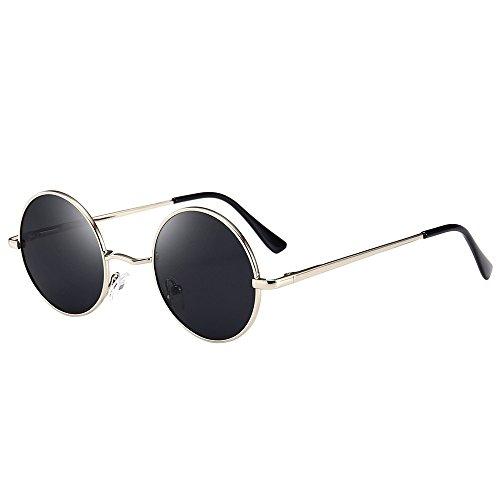 Retro Vintage Sonnenbrille, polarisiert mit rundem Metallrahmen, für Frauen und Männer By Vovotrade (B)