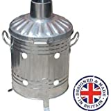 Small Medium Large 15L 60L 90L Litre Metal Galvanised Garden Incinerator Fire Bin Burning Leaves Paper Wood Rubbish Dustbin Shovel and Poker Made in U. K.