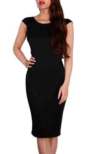 SODACODA Midi-Kleid mit extravaganten Rücken - Ärmellos & Knielang - Büro  Abend Party Club