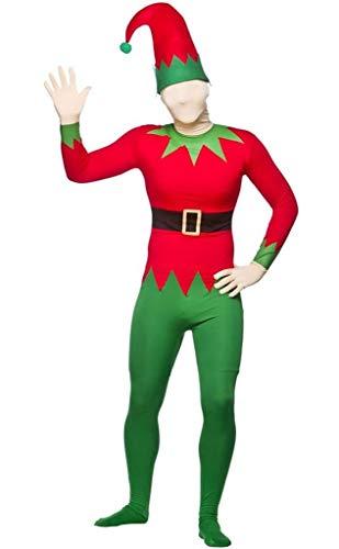 Helper Elf Santa's Kostüm - KOSTÜM ELF ANZUG WEIHNACHTEN MOTIV CHEEKY SANTA'S HELPERS, GRÜN, ROT, BODY UND MÜTZE XS-L