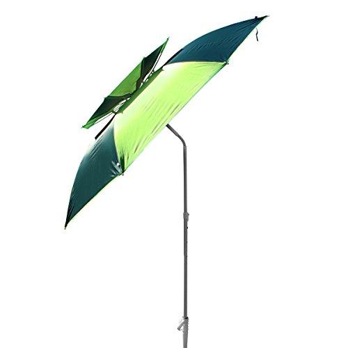XXL Sonnenschirm Strandschirm 190 cm Durchmesser Sonnenschirmhalter Kohlefaser Pongee Aluminium eingebauter Windfang Schraubdorn für Strand Erde Rasen UV Schutz 30 Grün