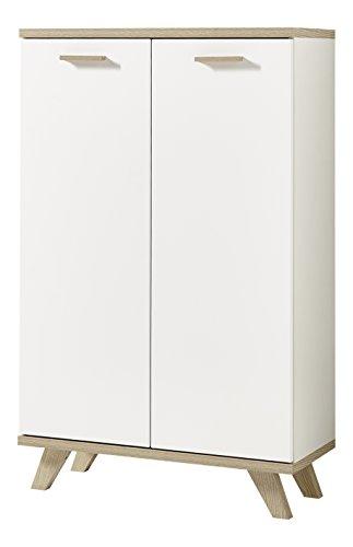 2 Tür Eiche Bücherschrank (Germania 4053-221 Aktenschrank im skandinavischen Design GW-Oslo in Weiß/Absetzungen Sanremo-Eiche-Nachbildung, 75 x 122 x 37 cm (BxHxT))