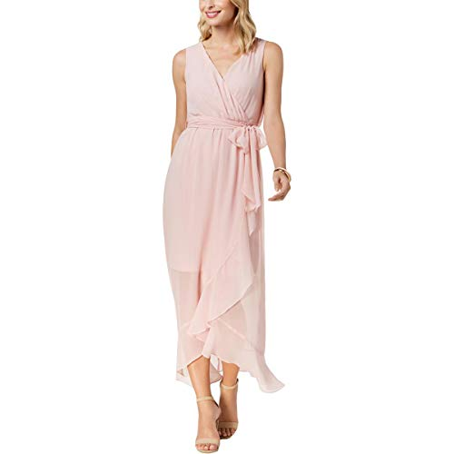 Sangria Womens Ruffled Sheer Maxi Dress -