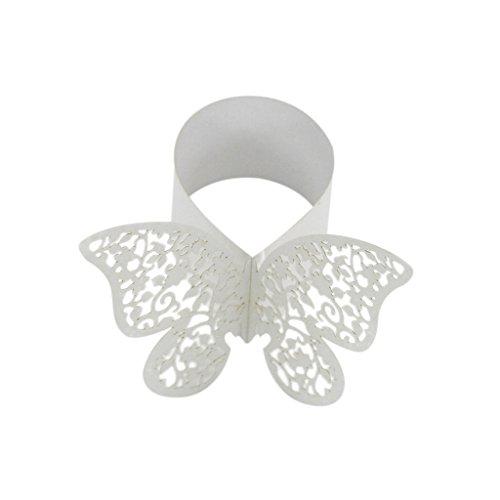 50x Butterfly Serviettenring Serviettenhalter Hochzeit Banquet Hotel Dinner Dekor - Beige (Beige Serviettenringe)