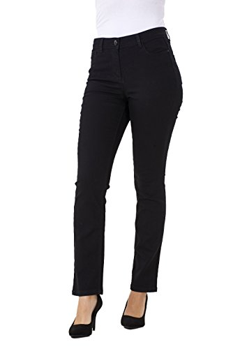 BHS Ladies Black Straight Leg Denim Womens Pants Stretch Petite Fit Jeans